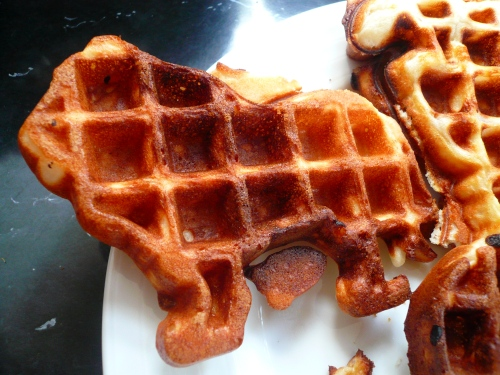 Tara brought her circus waffle maker, which produces waffles in the shape of a lion, elephant, circus tent and clown (shudder).