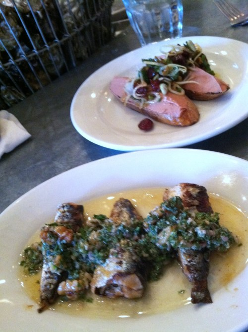 Chicken liver mousse and grilled sardines at the Walrus and the Carpenter in Seattle