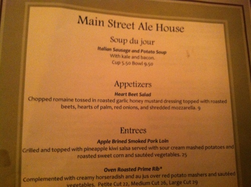 Main Street Alehouse Menu